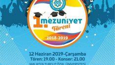 Malatya Turgut Özal Üniversitesi'nin (MTÜ) 2018-2019 yılı 1. Mezuniyet Töreni 12 Haziran Çarşamba günü gerçekleştirilecek.