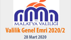 Malatya Valiliği Genel Emri  2020/2
