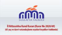 İl Hıfzıssıhha Kurul Kararı (Karar No 2020/69)  (65 yaş ve üzeri vatandaşların seyahat koşulları hakkında)