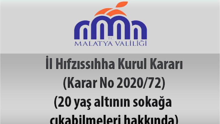 İl Hıfzıssıhha Kurul Kararı (Karar No 2020/72) (20 yaş altının sokağa çıkabilmeleri hakkında)