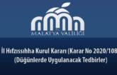 İl Hıfzıssıhha Kurul Kararı (Karar No 2020/108) (Düğünlerde Uygulanacak Tedbirler) 9 Temmuz 2020
