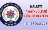 Malatya Asayiş Bülteni Günlük Olaylar 11 – 17 Ocak 2021