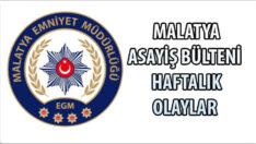 Malatya Asayiş Bülteni Haftalık Olaylar 28 Aralık 2020 – 03 Ocak 2021