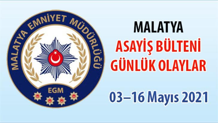 Malatya Asayiş Bülteni Günlük Olaylar 03–16 Mayıs 2021
