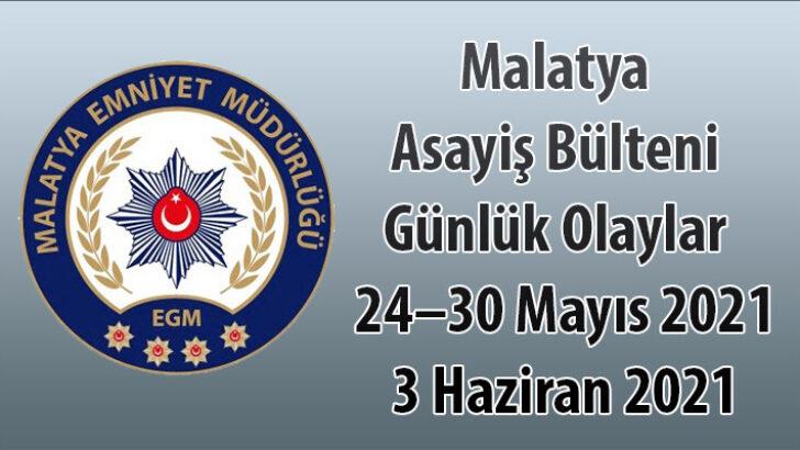 Malatya Asayiş Bülteni Günlük Olaylar  24–30 Mayıs 2021 3 Haziran 2021