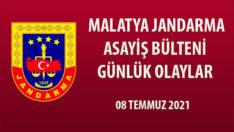 07 Temmuz 2021 tarihinde Malatya İl Jandarma Komutanlığı Harekât Merkezine intikal eden (15) olay bültene alınmış, meydana gelen olaylarda (17) şüpheli yakalanmıştır.